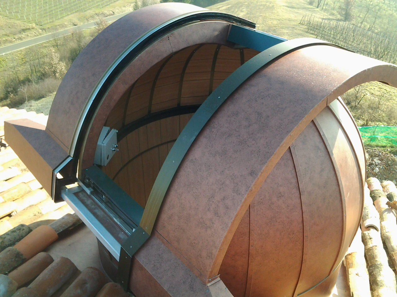 Top view of dome in copper-colored aluminum